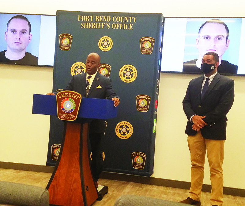 Fort Bend County Sheriff Eric Fagan, who took office on Jan. 1, in his first official press conference on Monday,  announced the arrest of a Fort Bend County Jail Detention Officer for having an improper relationship  with a jail inmate.  District Attorney Brian Middleton is at right.