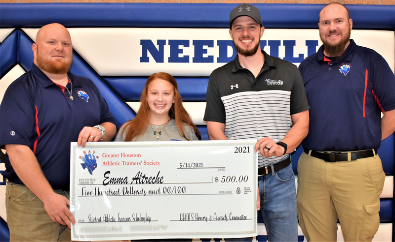 NHS EMMA ALTRECHE TRAINER SCHOLARSHIP: Needville High School senior Emma Altreche, second from left, received the Greater Houston Athletic Trainers' Society (GHATS) Spring 2021 Student Athletic Trainer Scholarship. From left are Needville High School Head Athletic Trainer Cale Cosper, Altreche, Needville High School Assistant Athletic Trainer Casey Nichols, and GHATS Past President Daniel Young, who made the presentation.